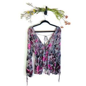 For Love & Lemons | V-Neck Floral Blouse Medium